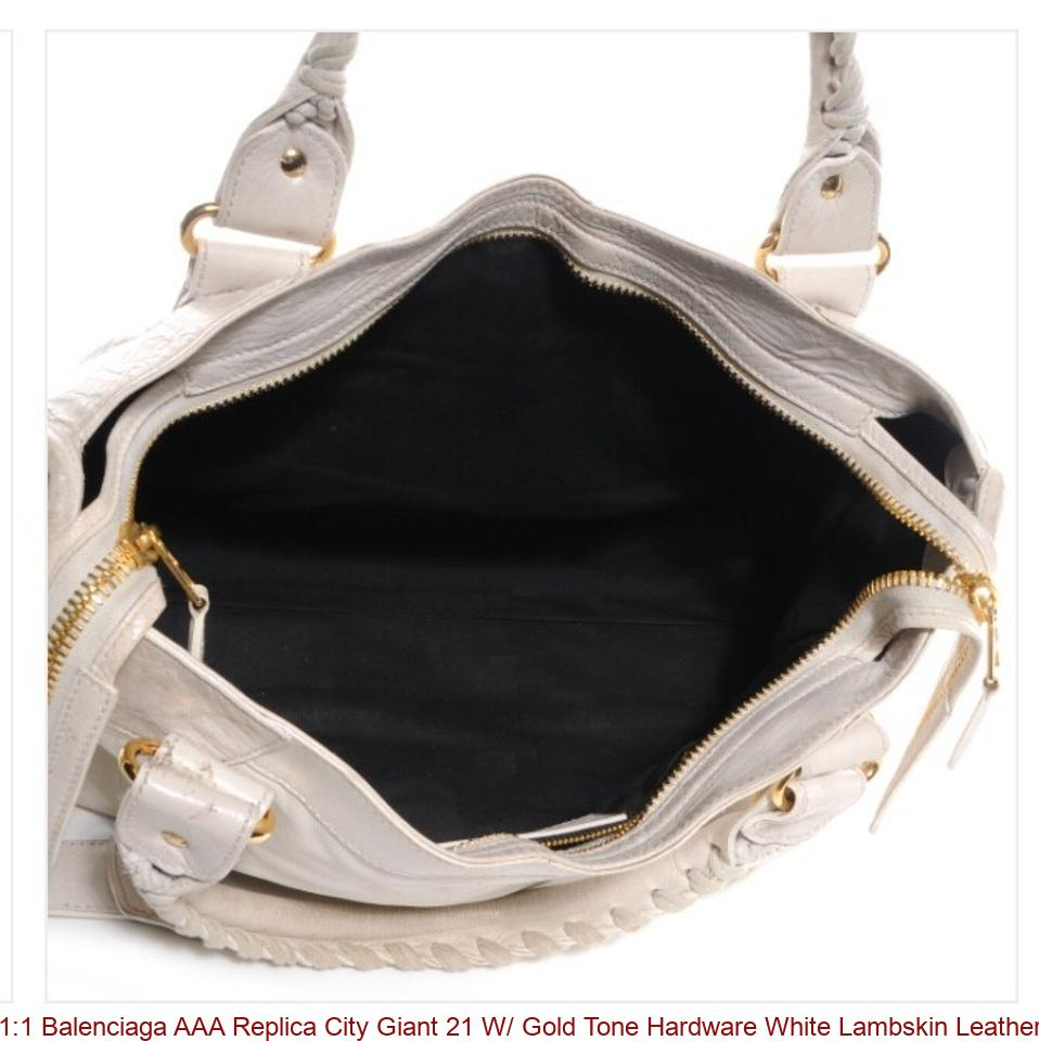 33d3a738efc1 1 1 Balenciaga AAA Replica City Giant 21 W  Gold Tone Hardware White  Lambskin Leather Shoulder Bag balenciaga bag pink