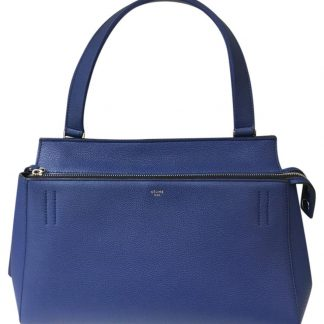 d3ebdb32908b High Quality Céline AAA Replica Edge Pebbled Blue Leather Satchel celine  bucket bag