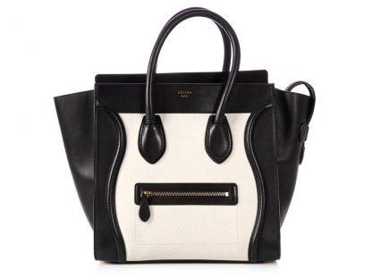 088c16defed Luxury Designer Céline Replica Luggage Bicolor Mini Black And White Leather  Tote handbags replica