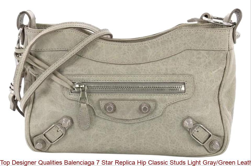 26bc13e7a52e Top Designer Qualities Balenciaga 7 Star Replica Hip Classic Studs Light  Gray/Green Leather Cross Body Bag balenciaga replica bag sale