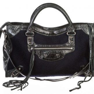 2fa3a62b916b Wholesale Handbags Balenciaga AAA Replica Navy Wool and City Handbag Blue  Leather Satchel balenciaga replica sneakers